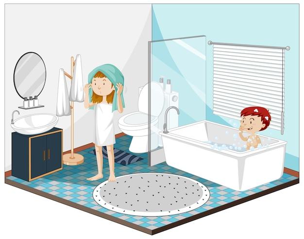 Crianças no banheiro com móveis
