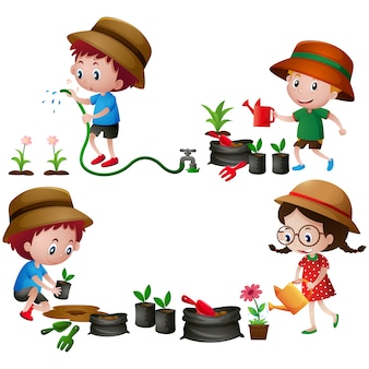 Crianças no desenho do jardim
