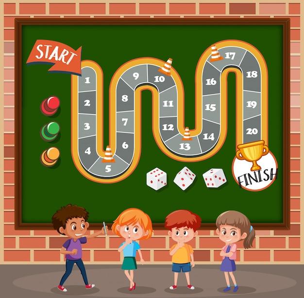 Crianças no modelo de jogo de tabuleiro