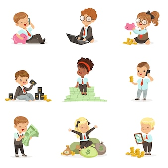 Crianças no negócio financeiro conjunto de giros meninos e meninas trabalhando como empresário lidar com muito dinheiro
