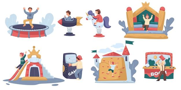Crianças no parque de diversões ou playground brincando, personagens