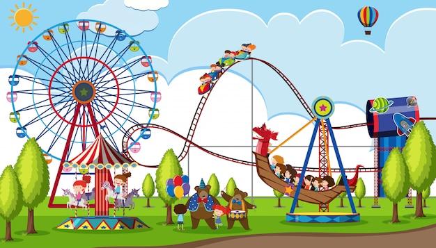 Crianças no parque temático