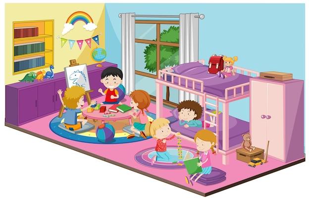 Crianças no quarto com móveis em tema roxo