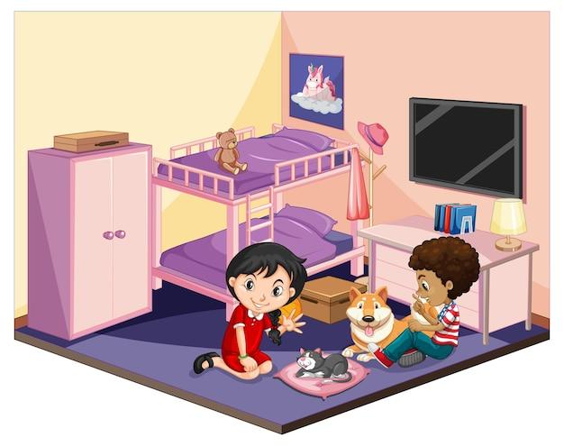 Crianças no quarto em cena temática rosa