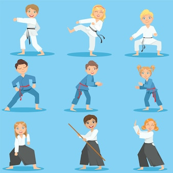 Crianças no treinamento de artes marciais