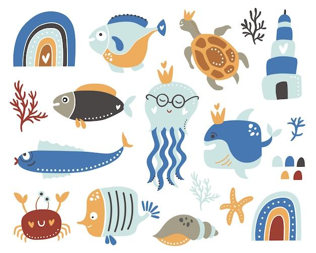 Crianças oceânicas conjunto com peixes.