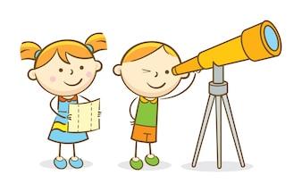 Crianças olhando através do telescópio