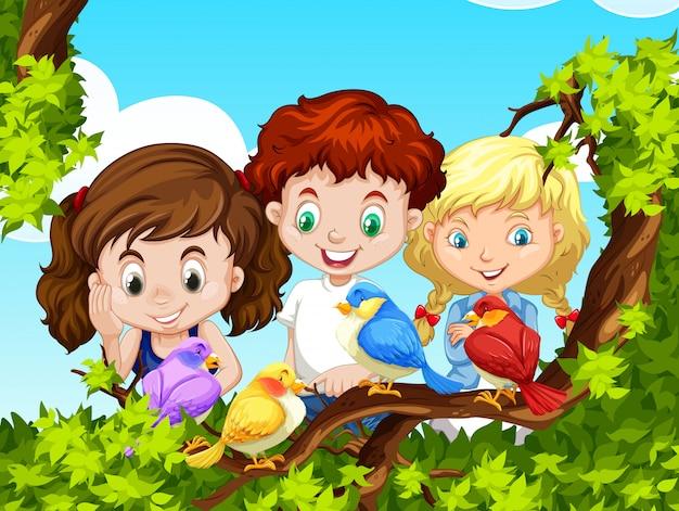 Crianças, olhar, pássaros, ramo