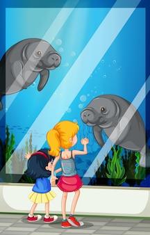 Crianças, olhar, visitando, aquário