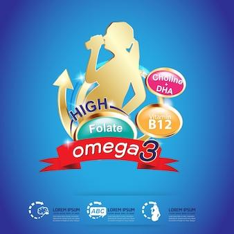 Crianças omega 3 concept vector