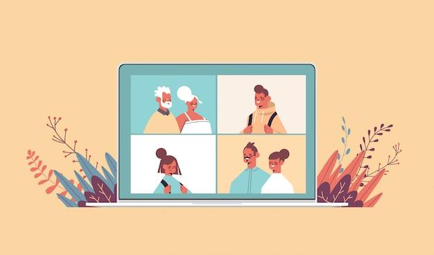 Crianças pais e avós durante a chamada de vídeo família bate-papo conceito de comunicação on-line pessoas felizes nas janelas do navegador da web na ilustração horizontal do retrato de tela do laptop