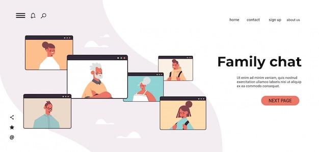Crianças pais e avós durante vídeo chamada família bate-papo conceito de comunicação on-line pessoas conversando no navegador web janelas retrato horizontal cópia espaço ilustração