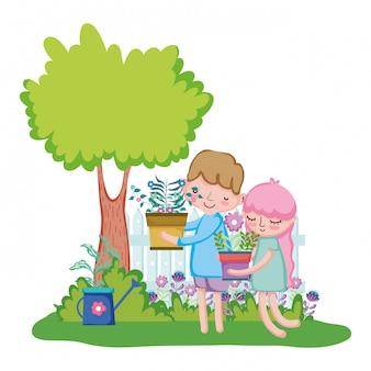 Crianças, par, levantamento, houseplant, com, cerca, em, a, jardim