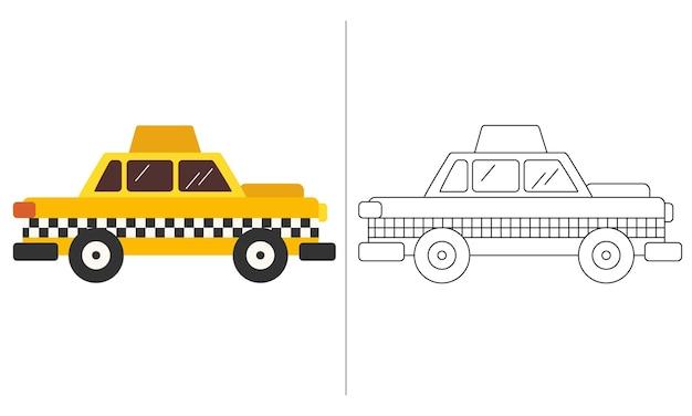 Crianças para colorir livro ilustração amarelo táxi táxi