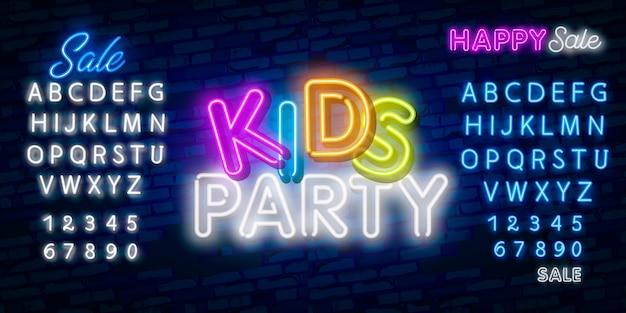 Crianças partido texto de néon. design de anúncio de celebração.