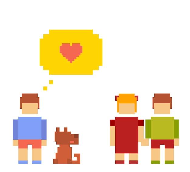 Crianças passeando com o cachorro no design de pixels