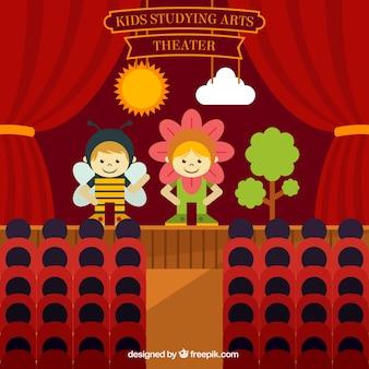 Crianças peça de teatro em design plano