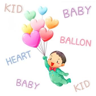 Crianças pegam balões flutuando no céu e fonte