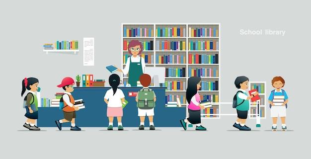 Crianças pegam livros emprestados de bibliotecários em bibliotecas escolares