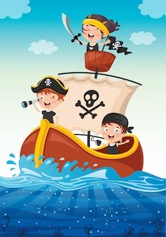 Crianças pequenas bonitos do pirata que levantam