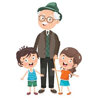 Crianças pequenas com seus avós