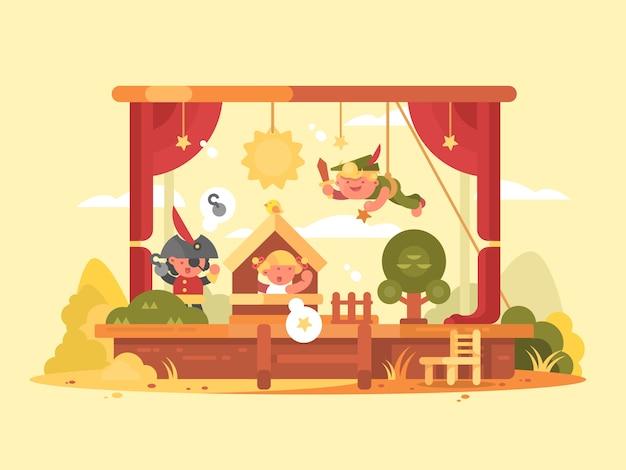 Crianças performáticas em cena. jogue no teatro com menino e menina. ilustração