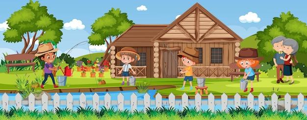 Crianças pescando na cena da natureza