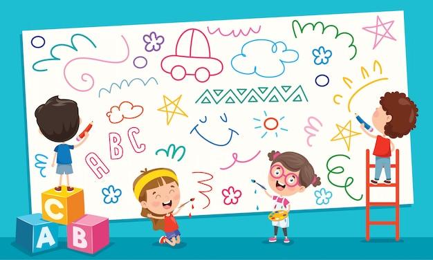 Crianças pintando a bandeira