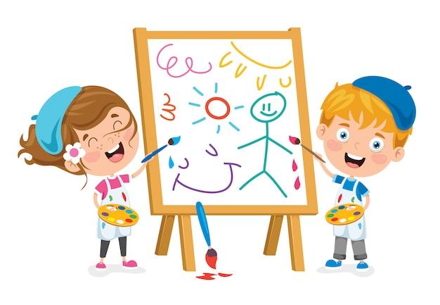 Crianças pintando um quadro
