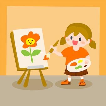 Crianças, pintura de menina na lona, classe de desenho