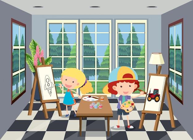 Crianças, pintura, em, a, sala