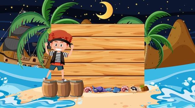 Crianças piratas na cena noturna da praia com um modelo de banner de madeira vazio