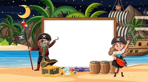 Crianças piratas na cena noturna da praia com um modelo de banner vazio