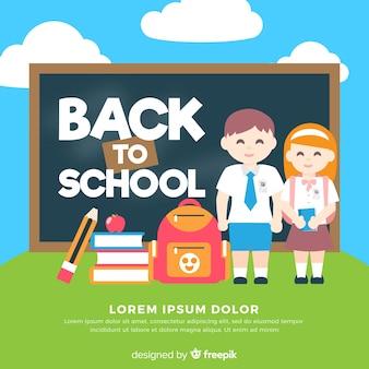 Crianças planas de volta ao fundo da escola