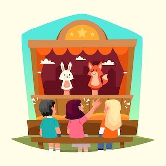 Crianças planas orgânicas assistindo a um show de fantoches ilustrado