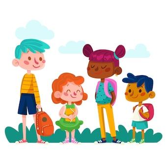 Crianças planas volta ao conceito de escola