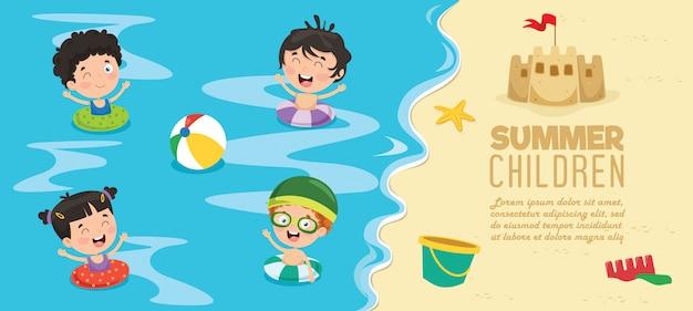 Crianças, praia, bandeira