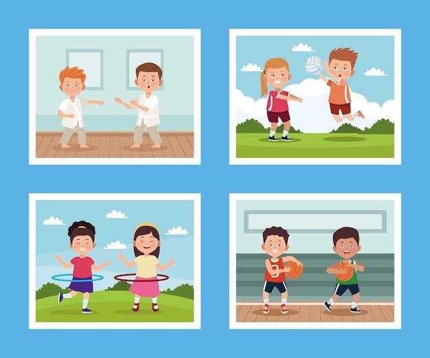 Crianças praticando atividades