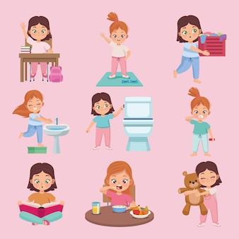 Crianças praticando nove atividades