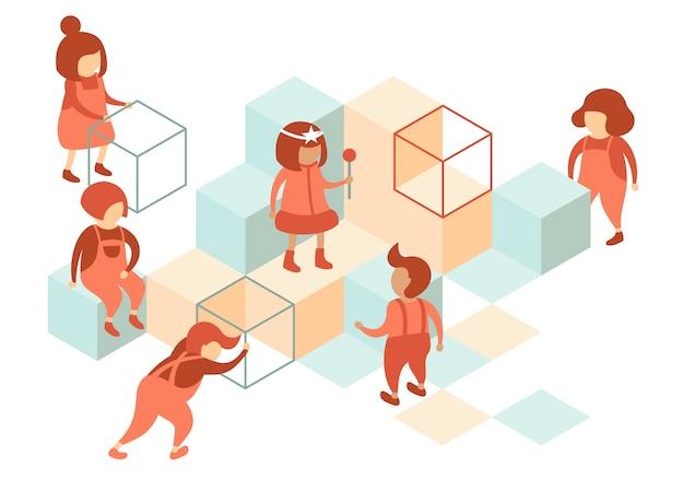 Crianças pré-escolares usam cubos para brincar no playground