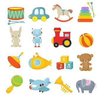 Crianças prées-escolar brinquedos isolados vector conjunto de desenhos animados