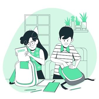 Crianças preparando sua ilustração do conceito de mochila