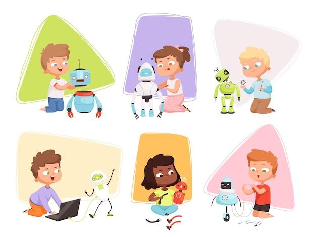 Crianças programando código com robôs
