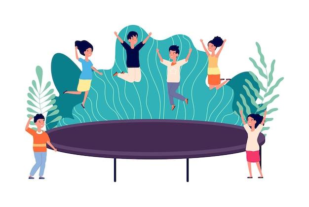 Crianças pulando na cama elástica. crianças pulam, ginástica ativa no quintal. pré-escolar saudável, exercícios de esportes ao ar livre de menino menina. bebês de energia na ilustração vetorial de parque infantil. exercício de salto na cama elástica