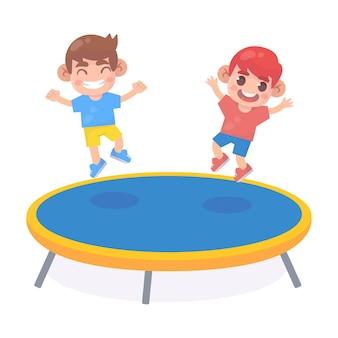 Crianças pulando na cama elástica
