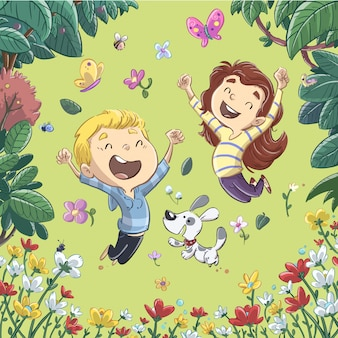 Crianças, pular, em, primavera