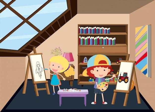 Crianças, quadro, em, a, sótão