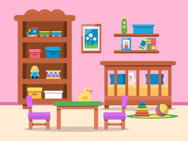 Crianças quarto interior com cama, mesa e vários brinquedos