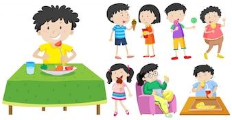 Crianças que comem ilustração alimentícia saudável e insalubre