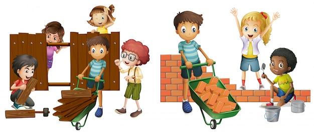 Crianças que constroem a parede de tijolo e cerca de madeira